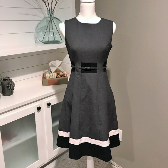 Calvin Klein Dresses & Skirts - Calvin Klein Belted Fit & Flare Color Block Dress
